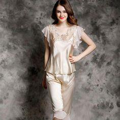 289918201 Silk-Pajamas-female-summer-Sleepwear-Pants-Two-piece-short-sleeved-Sexy100- Silk-Pajama-Sets  silkpajamas