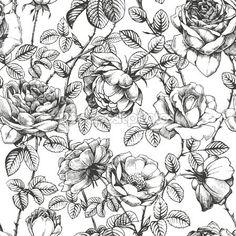 Rose pattern white — Stock Illustration #13947768
