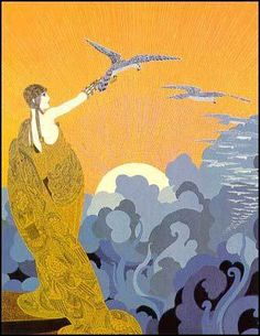 Wings of Victory, Harper's Bazaar cover detail 'New Bridges for the Seven Seas' by Erte, 1919 | The Art of Deco
