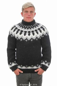 Icelandic Sweaters - Icelandic knitwear is famous for its premium quality, incomparable warmth, and classic style. All our Icelandic sweaters and Icelandic cardigans are made in Iceland from pure Icelandic sheep's wool to give you exceptional. White Sweaters, Wool Sweaters, Icelandic Sweaters, Ski Sweater, Pattern Fashion, Hand Knitting, Knitting Patterns, Knitwear, Menswear