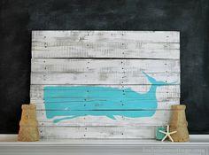 DIY Pallet Art Coastal Whale Silhouette - Fox Hollow Cottage