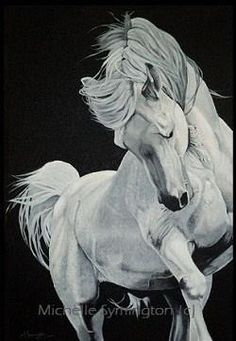 """Dancing White Horse"" painting by Michelle Symington 2012. This is really someone who knows how to paint horses!"