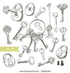 stock-vector-key-set-variety-of-hand-drawn-locks-and-keys-92062466.jpg (450×470)