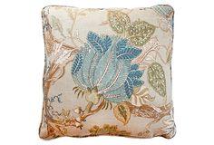 Floral 22x22 Cotton Pillow, Multi on OneKingsLane.com