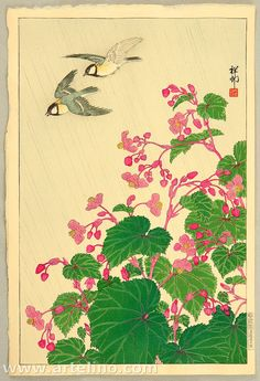Ohara Koson: Two Birds and Begonia in Rain -1936 or earlier