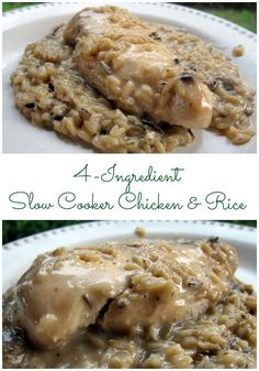 Slow Cooker Chicken and Rice recipe - only 4 ingredients! SO simple and SO delicious! Kids (and adults) gobble this up!