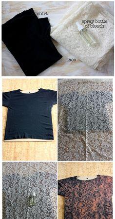 Bleach spray bottle black girly fitting shirt piece of white - I Arted Shirt - Ideas of I Arted Shirt - Lace pattern shirt. Bleach spray bottle black girly fitting shirt piece of white lace Taaa daah How To Tie Dye, How To Dye Fabric, Fabric Art, Fabric Crafts, Bleach Spray Shirt, Bleach Shirts, Bleach Tie Dye, Shibori, Diy Tie Dye Shirts
