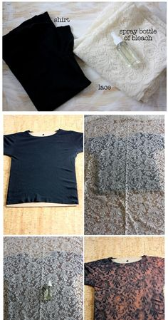Lace pattern shirt. Bleach spray bottle black girly fitting shirt piece of white lace... Taaa daah