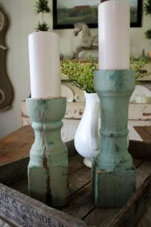 old porch post candle sticks