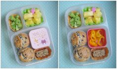 In her Easy Lunchbox, she has two blueberry muffins, a flapjack from our Graze box, a few yellow pepper rings in the cute little kitty box, some pineapple, and sliced celery.