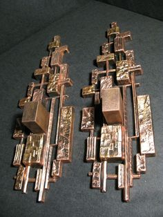 PAIR OF VINTAGE BRUTALIST WALL SCONCES CANDLE HOLDERS DART IND. 70s    #DARTINDUSTRIESFORMERLYKNOWNASSYROCO