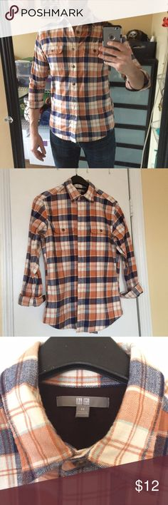 Men's Flannel Shirt 100% Cotton Men's Flannel Shirt size XS (fits like a Slim Small). Only worn a few times....in great condition with no holes, tears or stains. Uniqlo Shirts Casual Button Down Shirts
