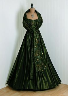 So pretty!!!!                                                 1950's Vintage Forest-Green Iridescent Heavily-Beaded Sequin Silk-Taffeta Couture Petal-Bust Plunge Nipped-Waist Strapless Femme-Fatale Rockabilly Circle-Skirt Princess Full-Length Bombshell Shawl-Wrap Formal Wedding Party Gown Dress and Cape-Coat Set