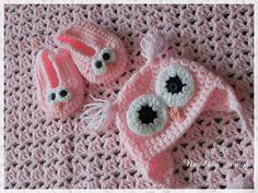 Pink Baby Blanket Set, cute Owl Design on Hat and Slippers