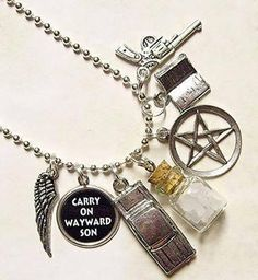 SUPERNATURAL NECKLACE.. Would be cuter as a charm bracelet.. I love the charms though!!