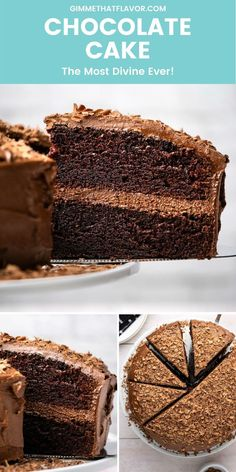 This chocolate cake is super moist and so decadent! Its also incredibly easy to make and the best chocolate cake youve ever tasted! Perfect for birthdays parties or any day that deserves a cake (all the days!) you're going to love this cake recipe! Chocolate Cake From Scratch, Divine Chocolate, Cake Recipes From Scratch, Best Chocolate Cake, Baking Chocolate, Chocolate Flavors, Homemade Cake Recipes, Best Dessert Recipes, Fun Desserts