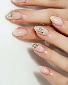Pin on シンプルネイル Self Nail, Bridal Nail Art, Asian Bridal, Cute Nail Art, Gel Nail Designs, Love Nails, White Nails, Nail Arts, Wedding Nails