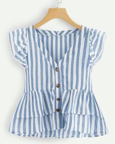 Shop V Neckline Single Breasted Striped Babydoll Top online. SHEIN offers V Neckline Single Breasted Striped Babydoll Top & more to fit your fashionable needs. Summer Outfits, Cute Outfits, Beach Outfits, Plus Size Blouses, Women's Blouses, Cute Blouses, Plus Size Women, Baby Dress, Blouse Designs