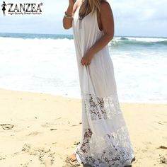 Vestidos 2016 ZANZEA Summer Women Lace Patchwork Casual Loose Long Maxi Solid Dress Sexy Strapless Beach Dresses Plus Size