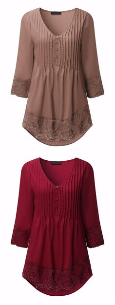 $10.81 Sexy Casual V Neck Lace Crochet 3/4 Sleeve Slim Blouse for Women