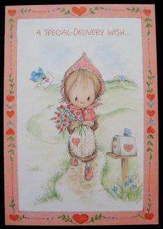 Vintage Valentine's Day Greeting Card Girl Holding Tulips Betsey Clark Hallmark
