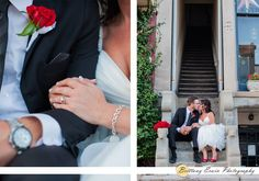 Real wedding in Indiana at the Creative Arts and Event Center | Bride and groom pose on concrete steps with red rose bouquet and boutonniere | Detail photo of engagement ring and wedding band | (c) Brittany Erwin Photography
