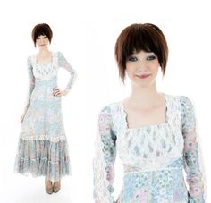 Gunne Sax Dress Blue Floral Hippie Boho Prairie Vintage 60s 70s Peasant Lace Victorian Festival Ren Faire Small S XSmall XS on Etsy, $48.00