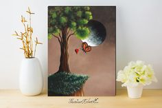 Canvas Art Print - Home Decor - Limited Edition Canvas Print - Remarqued - First One - Hand Embellished - Whimsical Art - 12x16 - Butterfly