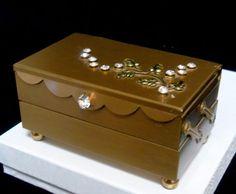 Vintage Gold Tone Products 2 Velvet Drawers Rhinestone Leaf Mirrored Trinket Box