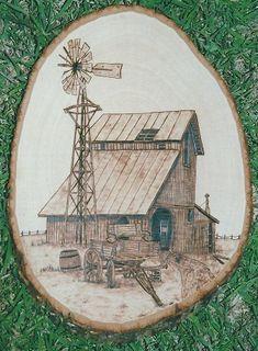 Old Barn and Wagon wood burning art