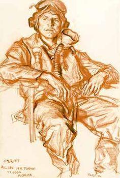 Drawing of Korean War pilot Avenal Richard Turner - Ivor Hele