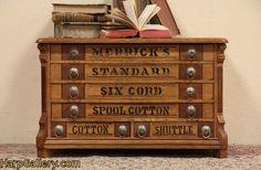 Merrick Oak Spool Cabinet, Jewelry Chest