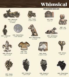 BuckSnort Whimsical collection - dog and cat knobs, grapes, motorcycles, and even a t-shirt knob