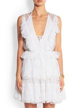 Givenchy Mini-robe à superpositions en point d'esprit de coton mélangé et dentelle  NET-A-PORTER.COM