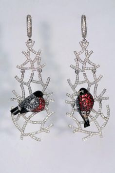 "Ilgiz Fazulzyanov (Ильгиз Фазулзянов) Modern art nouveau earrings ""Bullfinches"""