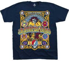 This Grateful Dead concert t-shirt is from the classic jam band's New Year's Eve 1978 performance for the closing of the Winterland Ballroom, in San Francisco, CA. This concert was recorded and released on DVD and CD, titled The Closing of Winterland. Our men's navy blue 100% cotton tee features all the well known Grateful Dead logos, along with the band's name, Farewell to the Legendary Winterland Ballroom, and the New Year's 1978 show date. #gratefuldead #jerrygarcia #bandtees #rockerrags