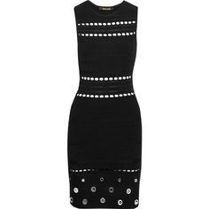 Roberto Cavalli Eyelet-embellished open knit-trimmed stretch-knit... (2,110 ILS) ❤ liked on Polyvore featuring dresses, black, embellished dress, embelished dress, roberto cavalli, eyelet dress and slip on dress