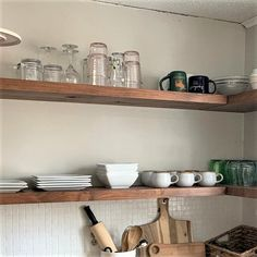 J Thomas, Kitchen Shelves, White Oak, Rustic Kitchen, Floating Shelves, Shelving, Blinds, Modern
