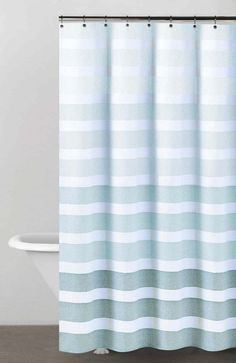 This DKNY Highline Stripes shower curtain will instantly update any bathroom with its tranquil and modern feel. Features soft blue horizontal strips and alternating rib stripe details. Beach Bathrooms, Upstairs Bathrooms, Laundry In Bathroom, Bathroom Renos, Bathroom Ideas, Small Bathroom, Downstairs Bathroom, Bath Ideas, Bathroom Designs