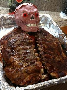 Wow that looks like a carnivorous feast. I was sent these pics from a friend.His brother attended a Halloween partythat included a cree...