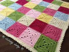 Cath Kidston Colours Patchwork Crochet  Blanket