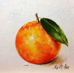 Orange Original Oil Painting by Nina R.Aide 6x6 by NinaRAideStudio