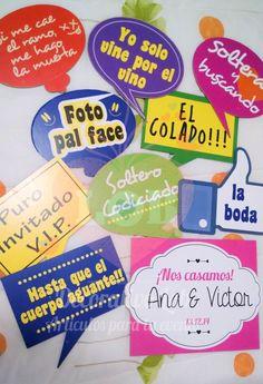 Letreritos para la Boda Baby Shower Photo Booth, Diy Photo Booth, Photo Props, 60s Party, Fiesta Party, Party Time, Mexican Party Decorations, Ideas Para Fiestas, Special Day