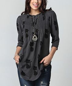 Love this Charcoal Cat Notch Neck Pin Tuck Tunic - Plus by Reborn Collection on #zulily! #zulilyfinds