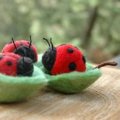 In einer Schüssel Leaf - Nadel Gefilzte Spielzeug oder Decor Marienkäfer
