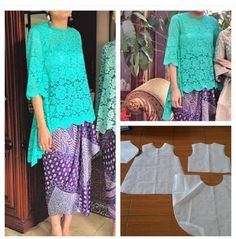 Ideas Sewing Skirts Mini For 2019 Kebaya Brokat, Kebaya Dress, Modern Kebaya, Blouse Patterns, Sewing Clothes, Dress Sewing, Sewing Patterns Free, Fashion Branding, Pattern Fashion