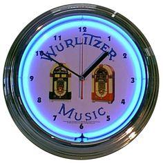 Wurlitzer Jukebox Neon Clock. Go back to the 50's jukebox era with this awesome Wurlitzer clock.