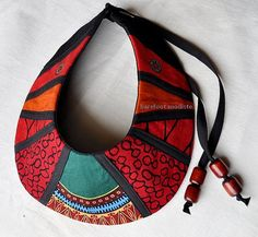 Unique African Patchwork Collar Handmade fabric by BarefootModiste, $30.00