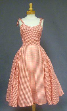 c8874674bf1 Red  amp  White 1950 s Sun Dress w  Tie Straps Vintage Inspired Dresses