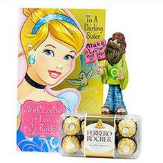 Ferrero Rocher with Hippie Showpiece Rakhi Festival, Rakhi Gifts For Sister, Ferrero Rocher, Raksha Bandhan, Sisters
